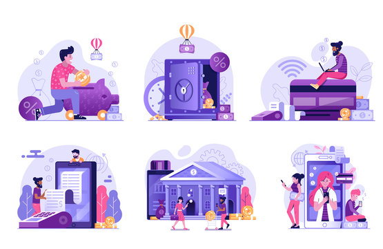 Online Banking and Payment Services Flat Illustrations