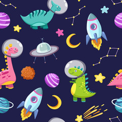 Estores personalizados con tu foto Dino in space seamless pattern. Cute dragon characters, dinosaur traveling galaxy with stars, planets. Kids cartoon vector background. Illustration of astronaut dragon, kids wrapping with cosmic dino