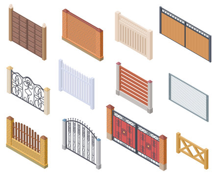 Isometric fence. Gates and farm garden wired security fences metal lattice 3d vector isolated collection. Architecture gate, fence and wall illustration