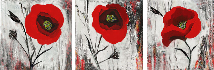 Collection of designer oil paintings. Decoration for the interior. Modern abstract art on canvas. Set of pictures with red poppies.