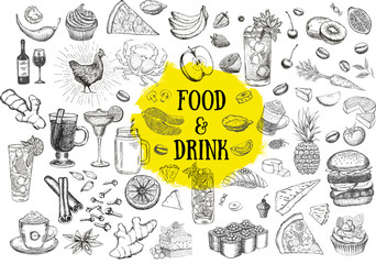 Food and drink hand drawn illustration