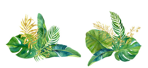 Bouquet of tropical green and gold leaves. Tropical watercolor illustration
