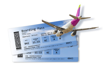 Airline boarding pass tickets isolated on white - Artwork on fuselage is totally invented as well as other content of the image and does not contain under copyright parts.