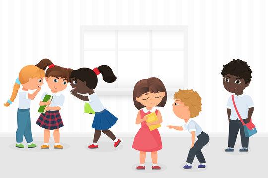 Group of multiethnic kids gossiping and bullying sad girl during break in school hallway cartoon vector illustration.