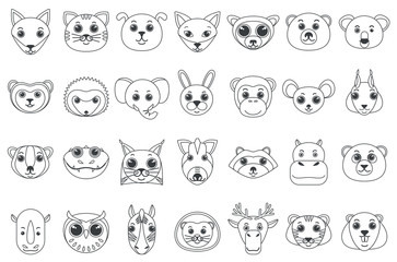 Set of line outline heads of assorted wild and domestic animals in cartoon style vector illustration.