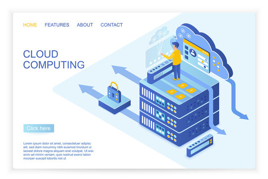 Vector design of person operating with secured data on starting page of cloud computing, big data website isometric vector illustration.