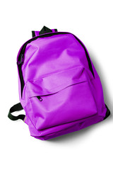 Top view of purple school backpack on white background.