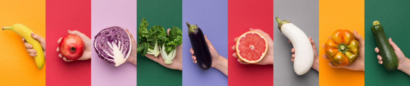 Nine different backgrounds with fruits and vegetables