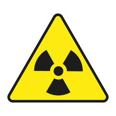 Vector illustration of radiation warning sign, isolated on white background
