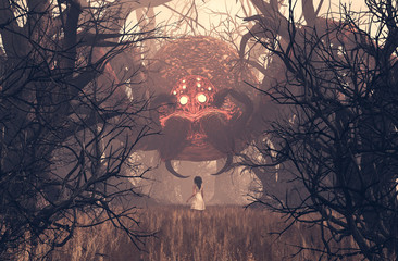 Fototapeta Girl looking at giant spider in creepy forest,3d rendering