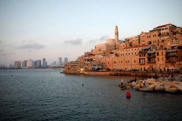 A general view shows Jaffa Port as well as Tel Aviv's skyline of high-rise buildings in the background, in Jaffa, Israel