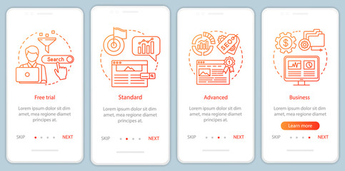 SEO keyword tool subscription onboarding mobile app page screen with linear concepts