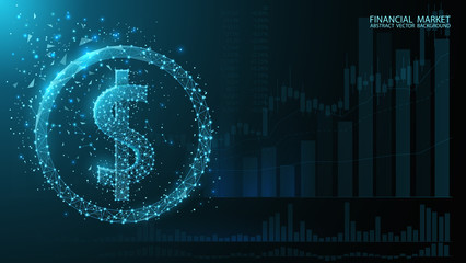 Digital dollar icon. Currency American dollar. Exchange. Charts currency quotes. Low poly image. Dark blue futuristic background. Glow effects, flickering particles, dust. Online banking, financial co