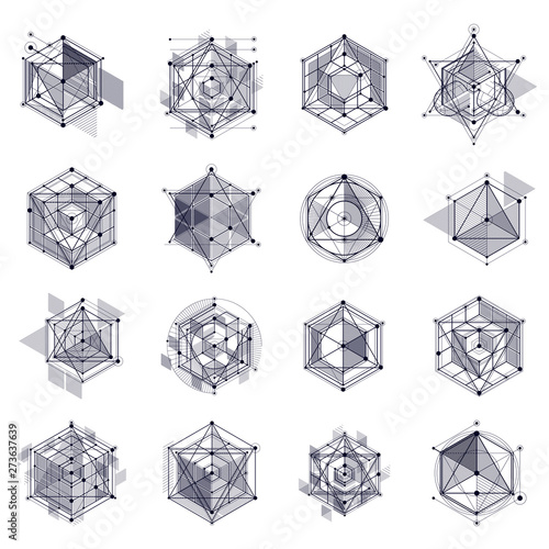Vector Of Modern Abstract Cubic Lattice Lines Black And