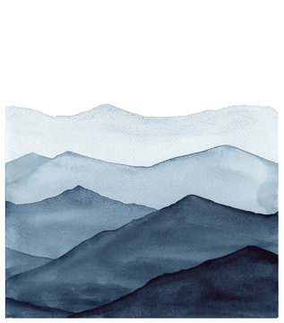 abstract indigo blue watercolor waves mountains on white background