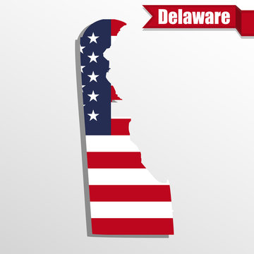 Delaware State map with US flag inside and ribbon