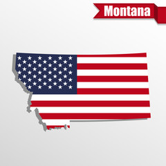 Montana State map with US flag inside and ribbon