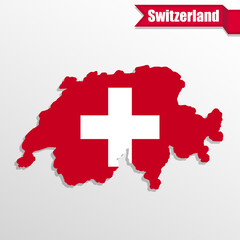 Wall Murals Pixel Switzerland map with flag inside and ribbon
