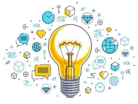 Shining light bulb and set of icons, business idea creative concept, e-commerce allegory, internet business, marketplace or online shop, vector illustration.