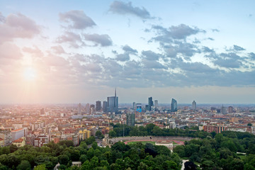 Garden Poster Milan Aerial view of Porta Nuova district in Milan