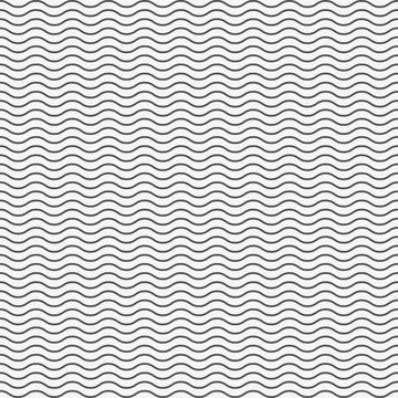Black seamless wavy line pattern. Vector illustration