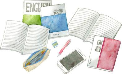 教科書とノート、筆記用具、スマートフォン