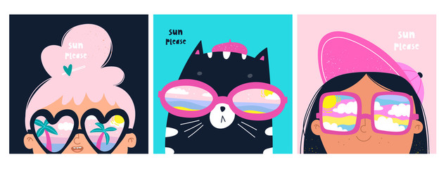Sun please. Set of cards with cat and girls with big sunglasses. Different reflections in glasses: cloudy sky, palms and ocean. Hand drawn vector trendy illustrations. Cartoon style. Flat design