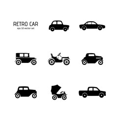 Retro car - vector icons set.