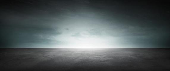 Dark Concrete Floor Background Infinite Horizon Sky Panoramic Scene Wall mural