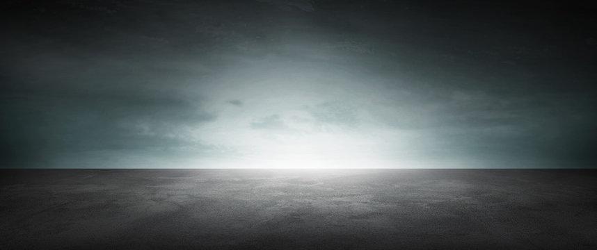Dark Concrete Floor Background Infinite Horizon Sky Panoramic Scene