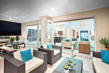 Colorful modern living room and furnitures.