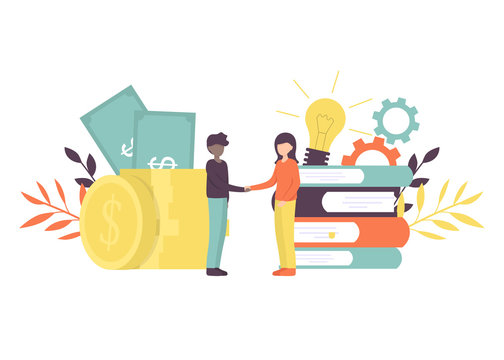 Business porters a successful team. The investor holds money in ideas. Financing of creative projects. Woman and man business handshake. Flat vector illustration.