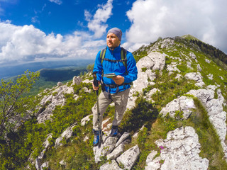 Hiker spending a day on a maountain
