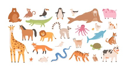 Collection of funny adorable wild exotic and domestic animals - cute mammals, reptiles, birds isolated on white background. Set of childish design elements. Vector illustration in flat cartoon style.