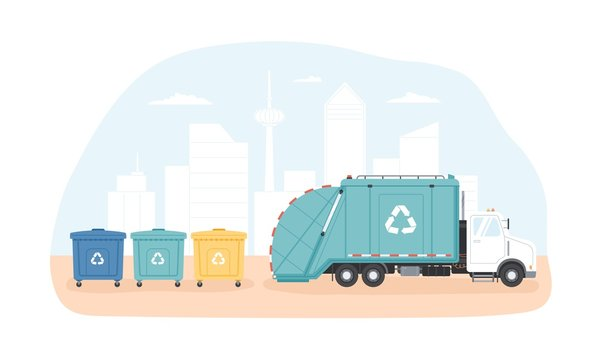 Municipal dumpsters and waste collection vehicle or garbage truck collecting trash against modern cityscape in background. Junk sorting and recycling. Modern flat cartoon colorful vector illustration.
