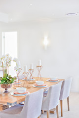 Dining area with a wooden table and chairs