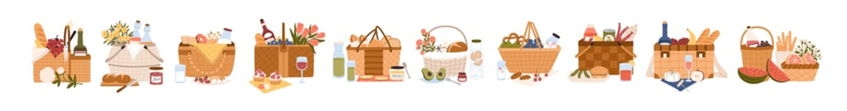 Collection of picnic baskets full of delicious meals and snacks for outdoor dining. Bundle of hampers for food storage isolated on white background. Colorful flat cartoon vector illustration.