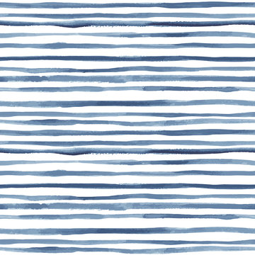 Hand painted striped indigo background. Seamless vector pattern
