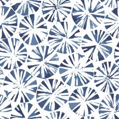 Shibori style blooms. Indigo blue abstract seamless vector pattern