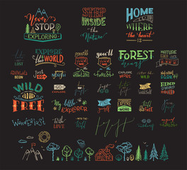 Vector hand-drawn set of lettering quotes about nature and wanderlust.