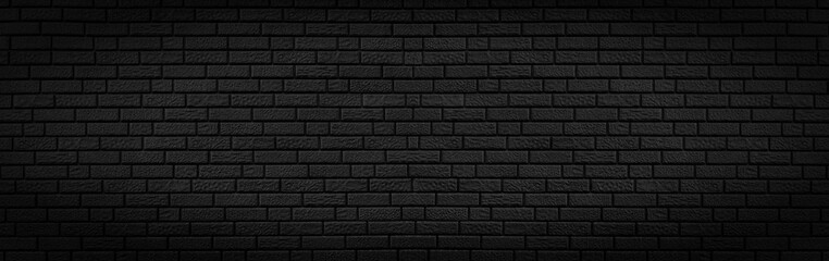 Panoramic texture of black brick wall, brickwork background for design or backdrop Wall mural