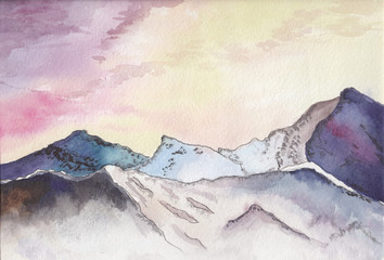 Watercolor mountain landscape. Watercolor sketch of the mountains at sunset.