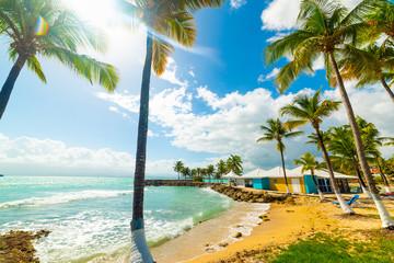 Sun shining over beautiful Bas du Fort beach in Guadeloupe