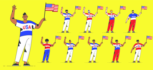 diverse american people of various ethnicity isolated on white background. man with usa flag celebrating. different nationalities, dress styles. Vector Flat People Set.