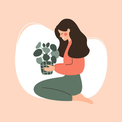 Young girl holds potted green plant. Concept of love and care of home flowers. Vector