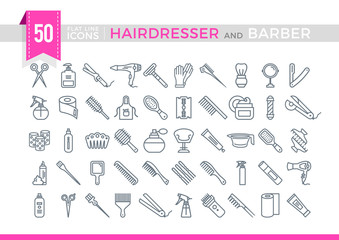 Set Vector Flat Line Icons Hairdesser and Barber