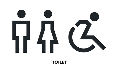 Restroom Toilet Sign Male Female Disabled Person Wheelchair. Vector Flat Line Icon Illustration