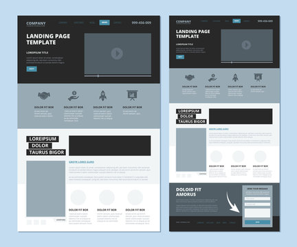 Landing wireframe. Internet web page ui template menu navigation video gallery and footer information vector landing design. Illustration of ui web layout page, website menu navigation