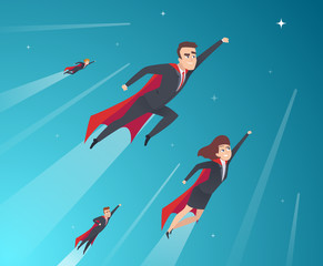 Business concept characters. Professional team working powerful superheroes in action poses vector corporate background. Illustration of superhero people, business team hero