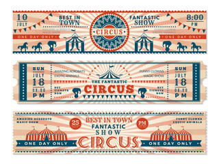 Circus tickets. Horizontal banners invitation for circus show carnival retro web vector banners. Illustration of ticket to circus, entertainment amusement invitation